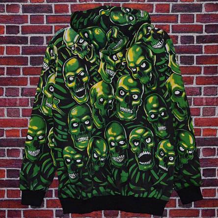 Мужская кофта - Худи  в стиле Supeme x Vans зеленый череп, фото 2