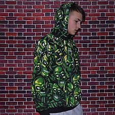 Мужская кофта - Худи  в стиле Supeme x Vans зеленый череп, фото 3