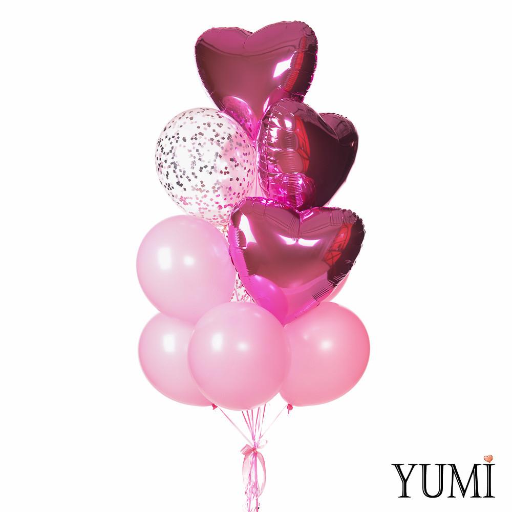 Связка из розовых воздушных шаров и сердечек с гелием для девушки