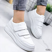 Женские  стильные кеды кроссовки криперы на липучках белые, фото 1