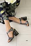 Женские замшевые босоножки на удобном каблуке, фото 2