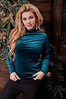Женский велюровый гольф,1(42-46), 2(48-52), 3(54-58) ,Цвет: бордо, изумруд, пудра,т. синий, черный, код 0676, фото 3