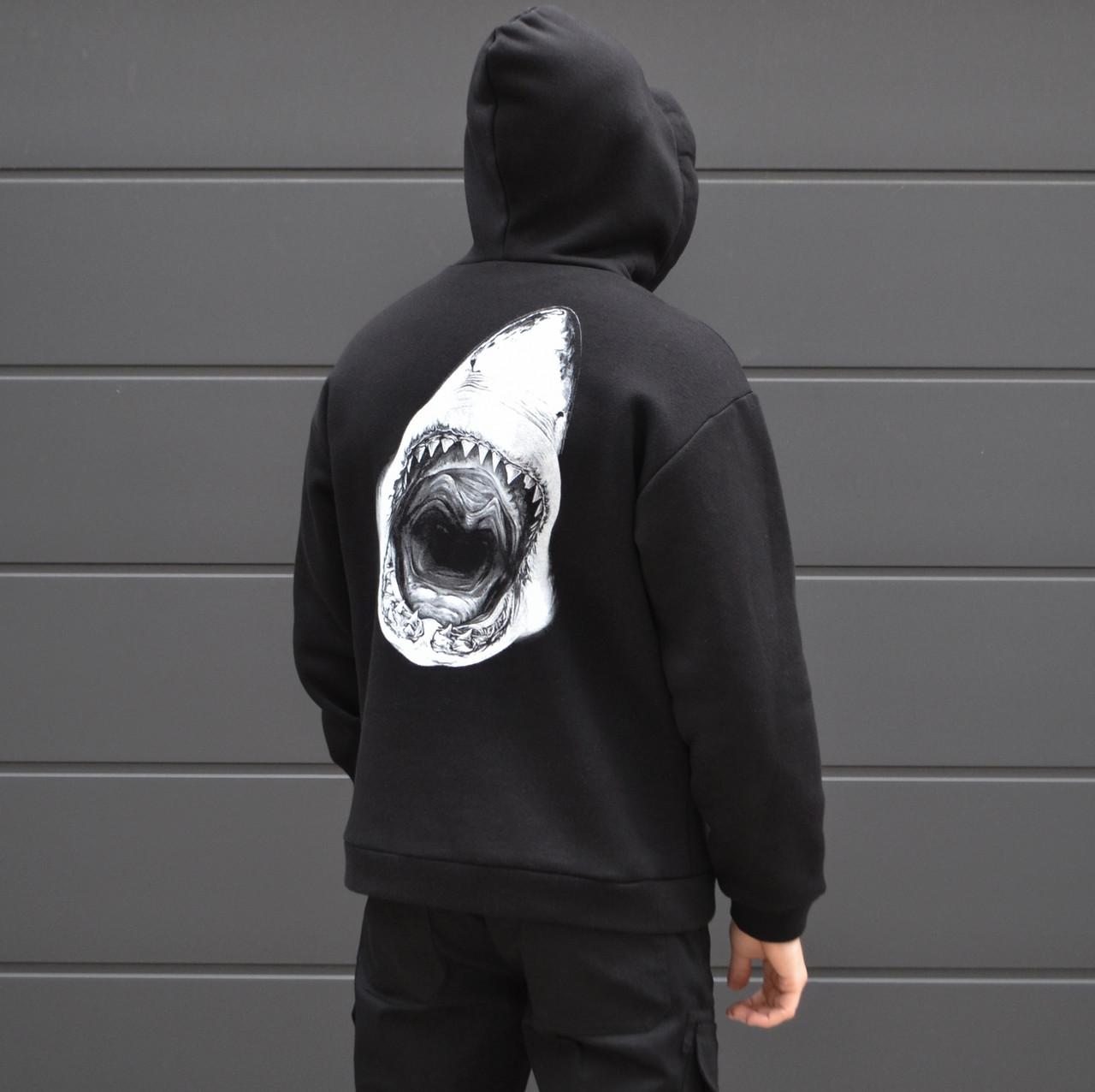 Мужская кофта - Худи Shark - акула, черная