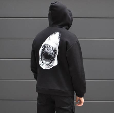 Мужская кофта - Худи Shark - акула, черная, фото 2