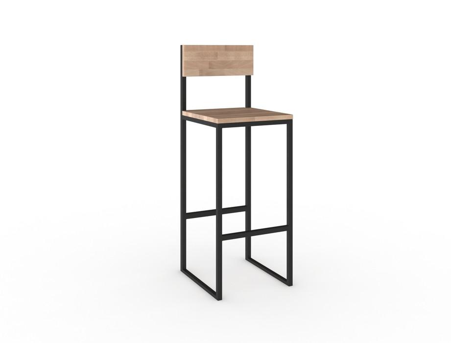 Высокие барные стулья LOFT из металла и натурального дерева