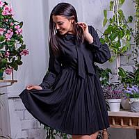 Женское черное платье с юбкой плиссе 871 Q.J.B.M