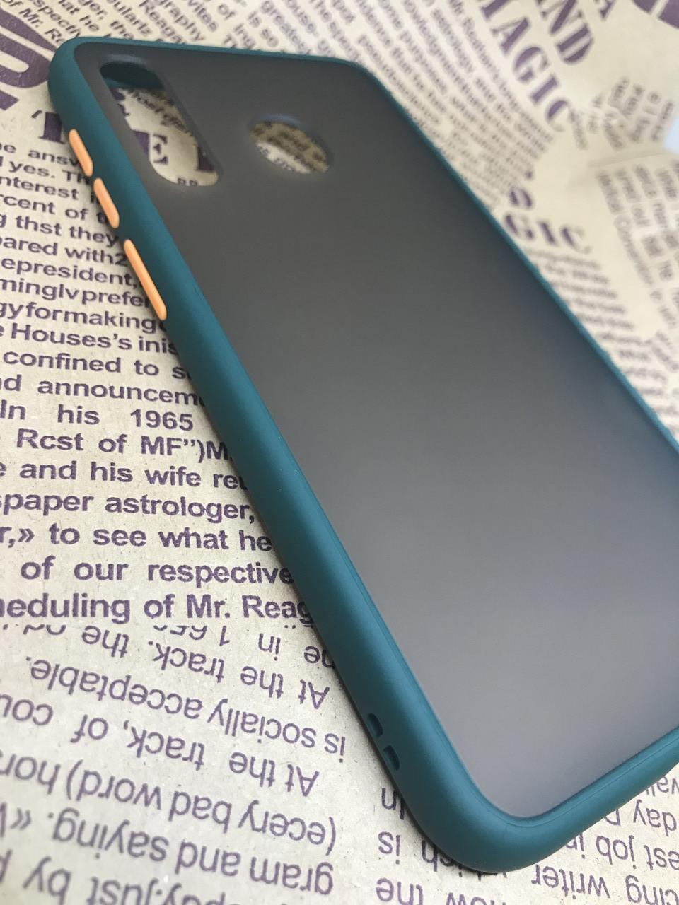Чехол бампер накладка на Samsung A20 2019 (A205F) противоударный цветная окантовка черный синий