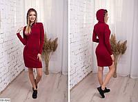 Короткое платье с капюшоном в спортивном стиле арт 509