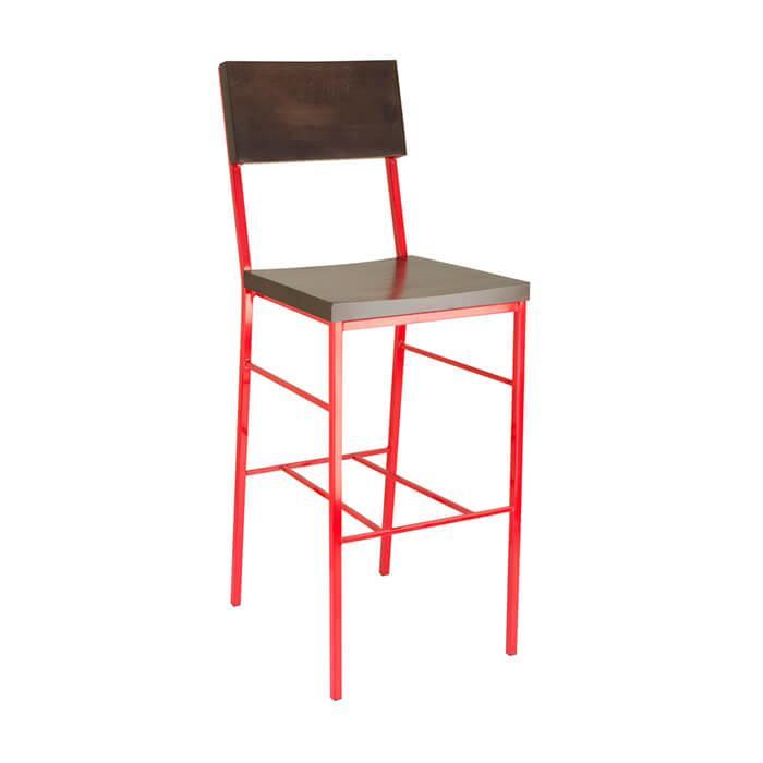 Высокие барные стулья LOFT из металла и дерева красный цвет