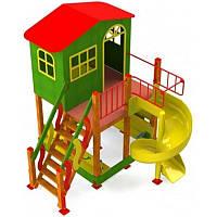 """Игровой уличный домик площадка """"Халабуда"""" со спиральной горкой, фото 1"""