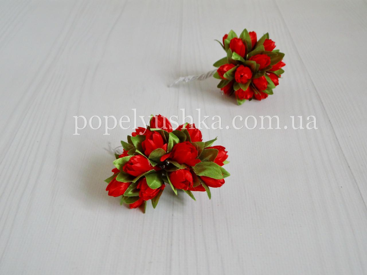 """Бутоньєрка """"Підсніжник""""  2 см червона (10 квіточок)"""