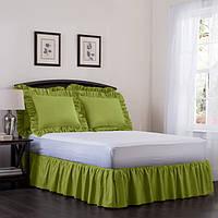 Підзор на ліжко Рюші Модель 7 Салатовий 90Х200/30