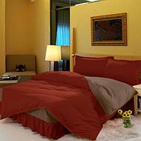 Постельный Комплект белья с цельной простынью - подзором Винный + Порох 160*200 двуспальное