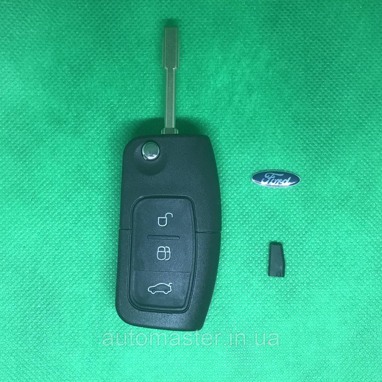 Ключ  Ford mondeo, focus выкидной 3 кнопки 433MHz чип 4D60 лезвие FO21