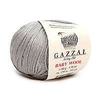Пряжа Gazzal Baby Wool 817 (Газзал Беби Вул) Шерсть Акрил Серый