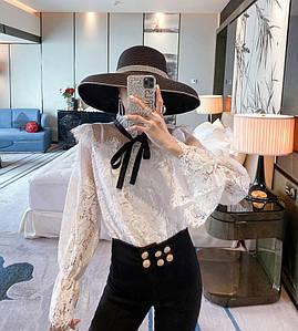 Гипюровая блузка с пагонами 42-44 (в расцветках)