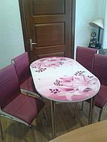 """Розкладний обідній кухонний комплект овальний стіл і стільці """"Фіолетові лілії"""" ДСП гартоване скло 75*130 Лотос-М"""