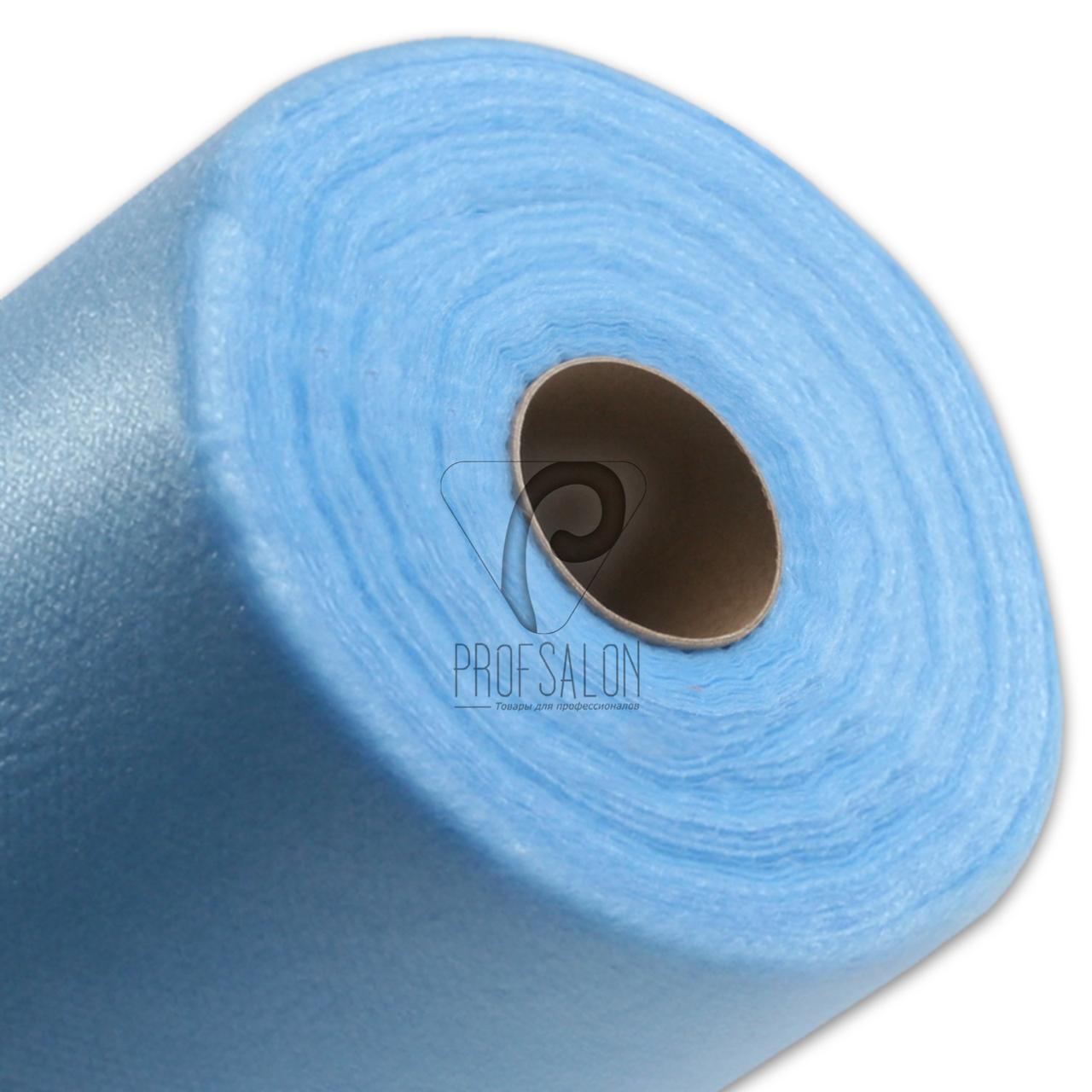 Одноразовые простыни в рулонах 0,8х500 метров 20 г/м2, медицинские, для салонов красоты, голубые