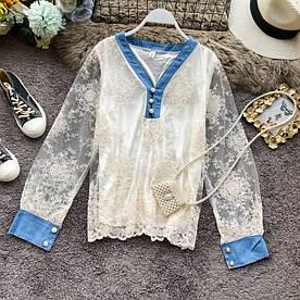 Кружевная женская блузка-рубашка 42-44 (в расцветках)