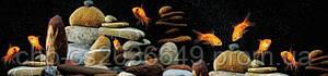 Стеклянный фартук для кухни - скинали Рыбы и камни