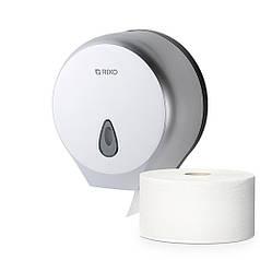 Диспенсер держатель рулонной туалетной бумаги джамбо Rixo Maggio P002S настенный дозатор пластиковый серый