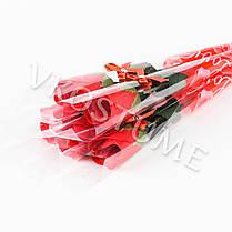 """Подарочный букет с розой из ароматного мыла """"Бантик"""", красный, фото 3"""