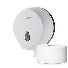 Диспенсер туалетной бумаги в джамбо рулонах и стандартных  Rixo Maggio P002W настенный пластиковый белый