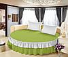 Простынь цельная - подзор на Круглую кровать Модель 6 Салатовый + Белый 200