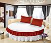 Простынь цельная - подзор на Круглую кровать Модель 6 Белый + Винный 250