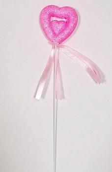 Валентинка на паличці 24 см, рожева