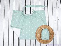 Накидка для кормления ребенка с сумочкой чехлом, Перышко на мяте, фото 1