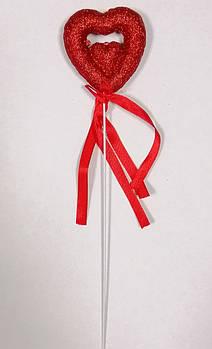 Валентинка на паличці 24 см, червона