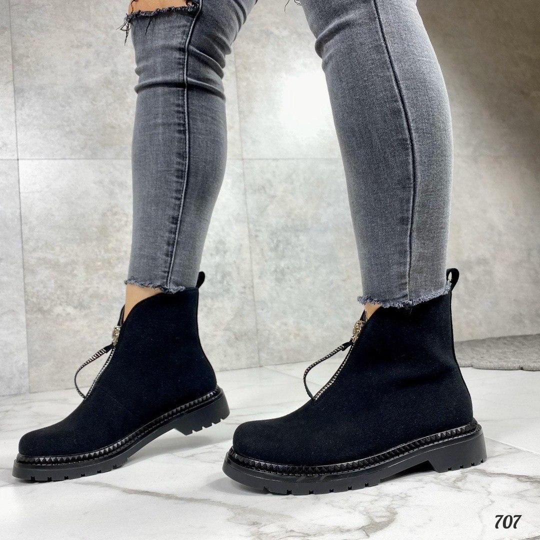 Только 41 р!!! Женские ботинки черные эко замш весна-осень