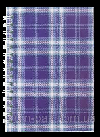 Блокнот на пружине сбоку А-6 48 л Shotlandka клетка,фиолетовый