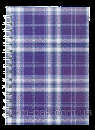 Блокнот на пружине сбоку А-6 48 л Shotlandka клетка,фиолетовый, фото 2
