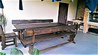 Садовая мебель из массива дерева 2200х900 от производителя для дачи, кафе, комплект Furniture set - 12