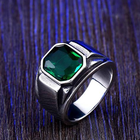 Перстень APST-88 Печатка с изумрудным камнем, фото 2