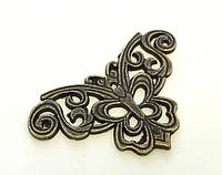 Уголок металлический бронза бабочка для шкатулок шильда  57х33 мм