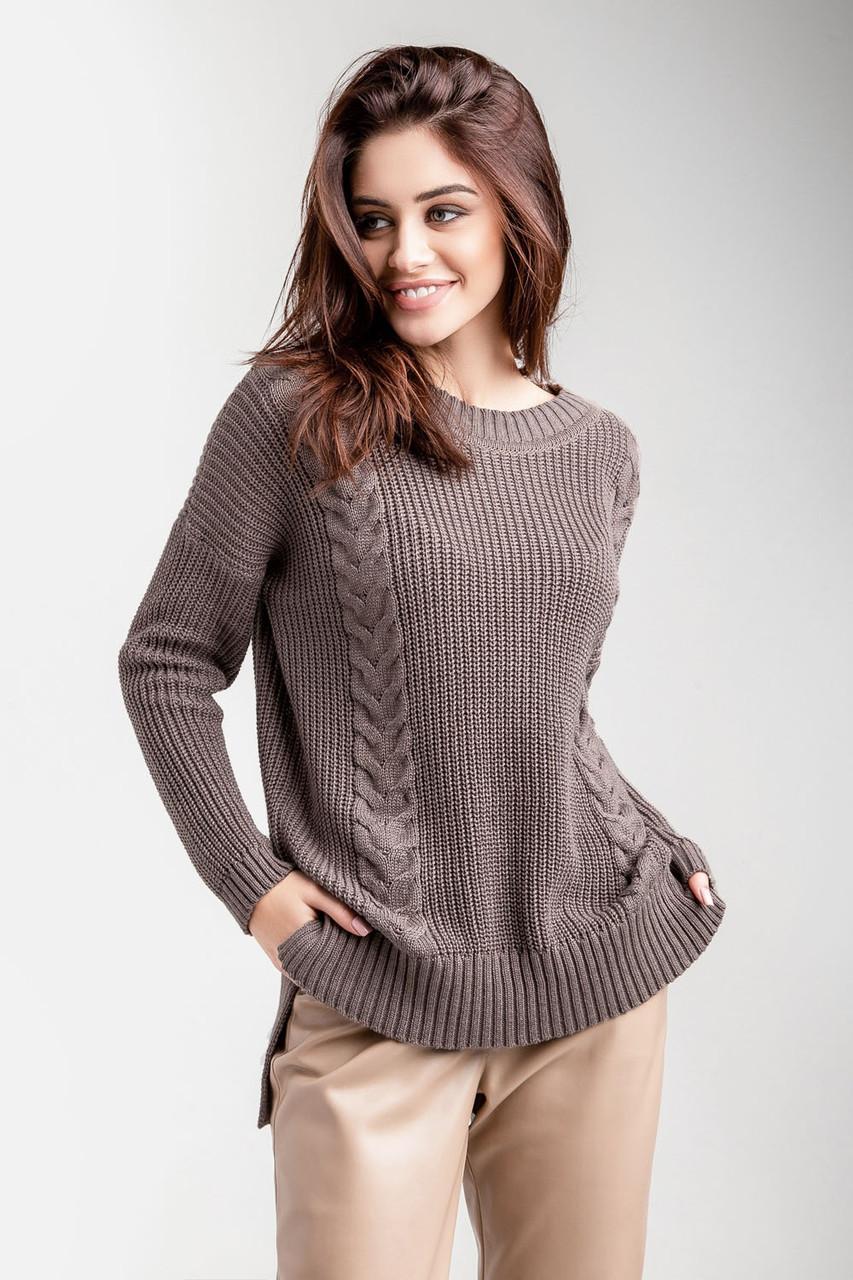 Стильный теплый женский вязаный свитер джемпер с узорами и косами