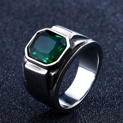 Перстень APST-88 Печатка с изумрудным камнем
