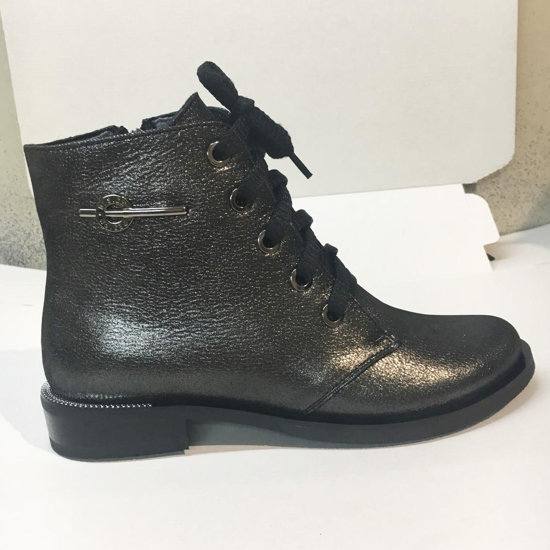 Ботинки женские кожаные на шнуровке, цвет никель