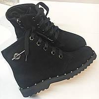 Ботинки женские замшевые на шнуровке, цвет черный, фото 1