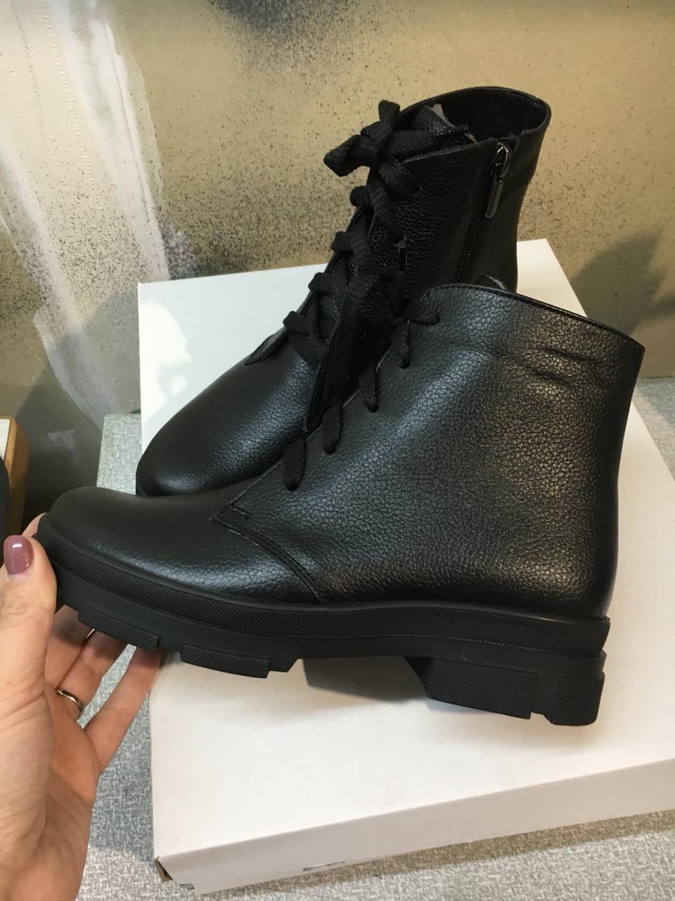 Ботинки женские на шнуровке, натуральная кожа флотар черного цвета