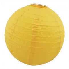 Китайский фонарик шар (25см) желтый