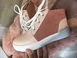 Ботинки женские на шнуровке, натуральная кожа и замша, фото 2