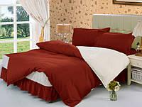 Комплект постельного белья с цельной простынью - подзором Винный + Белый 120*200 полуторный