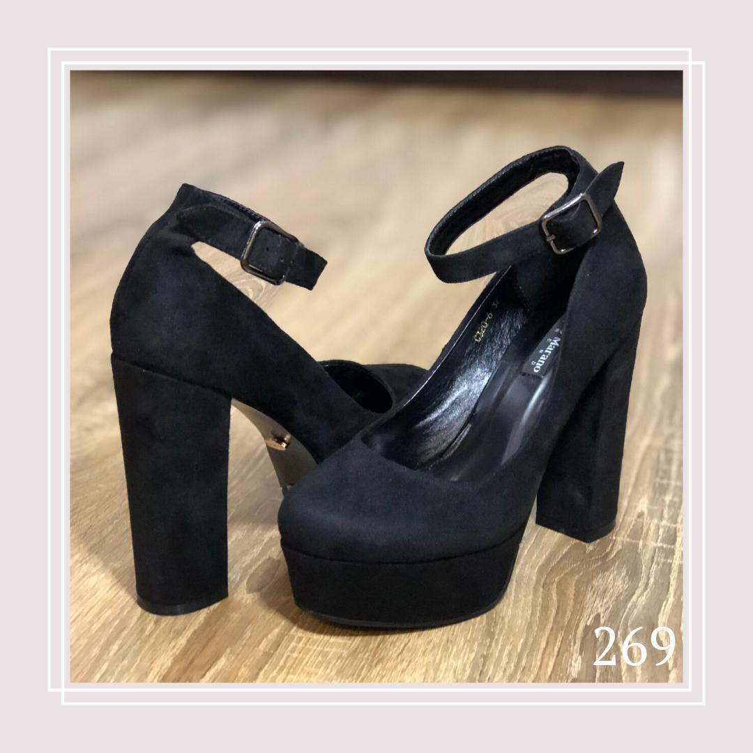Туфли чёрная замша на высоком каблуке