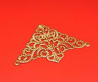 Уголок металлический золото тонкий накладной для шкатулок шильда  55х55 мм