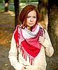 Теплый платок в клетку Милания 100*105 см бордовый