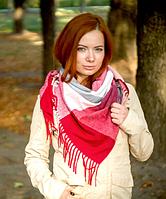 Теплый платок в клетку Милания 100*105 см бордовый, фото 1